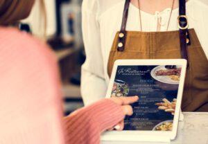 Woman looking at a digital menu